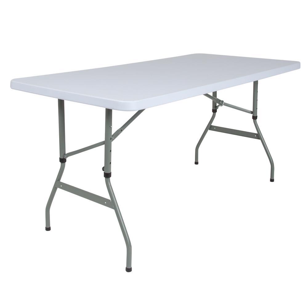 59.25 in. Granite White Plastic Tabletop Metal Frame Folding Table