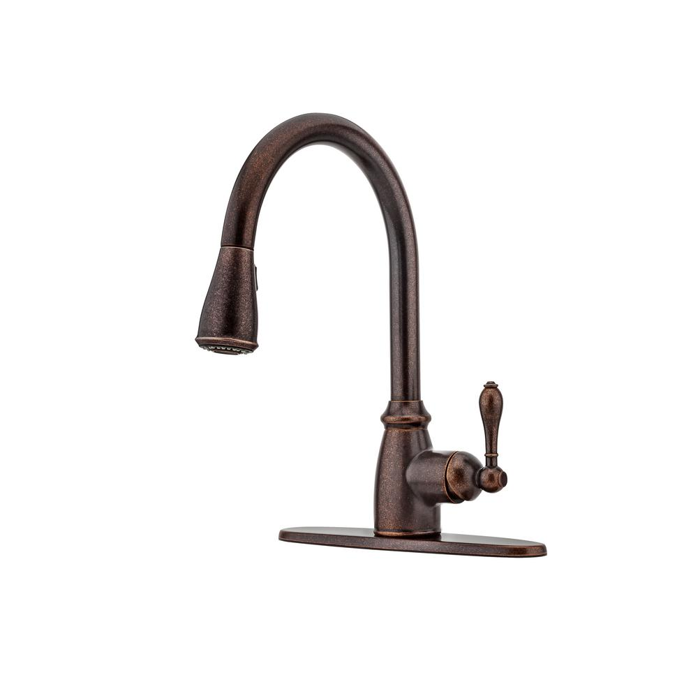 Pfister Canton Single Handle Pull Down Sprayer Kitchen Faucet In Rustic Bronze