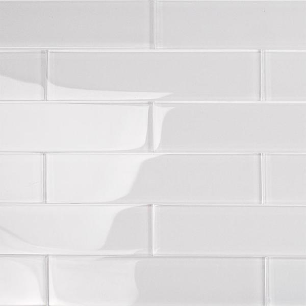 Contempo Super White 2 in. x 8 in. x 8mm Polished Glass Floor and Wall Tile (36 pieces 4 sq.ft./Box)