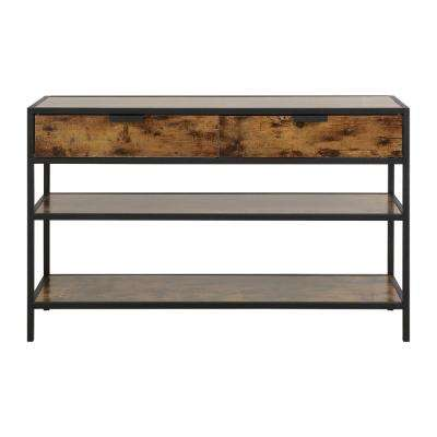 Hamilton 49 in. Antique Wood 2-Drawer and 2-Shelf Metal and Wood Console Table