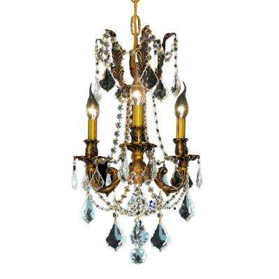 3-Light French Gold Chandelier with Clear Crystal