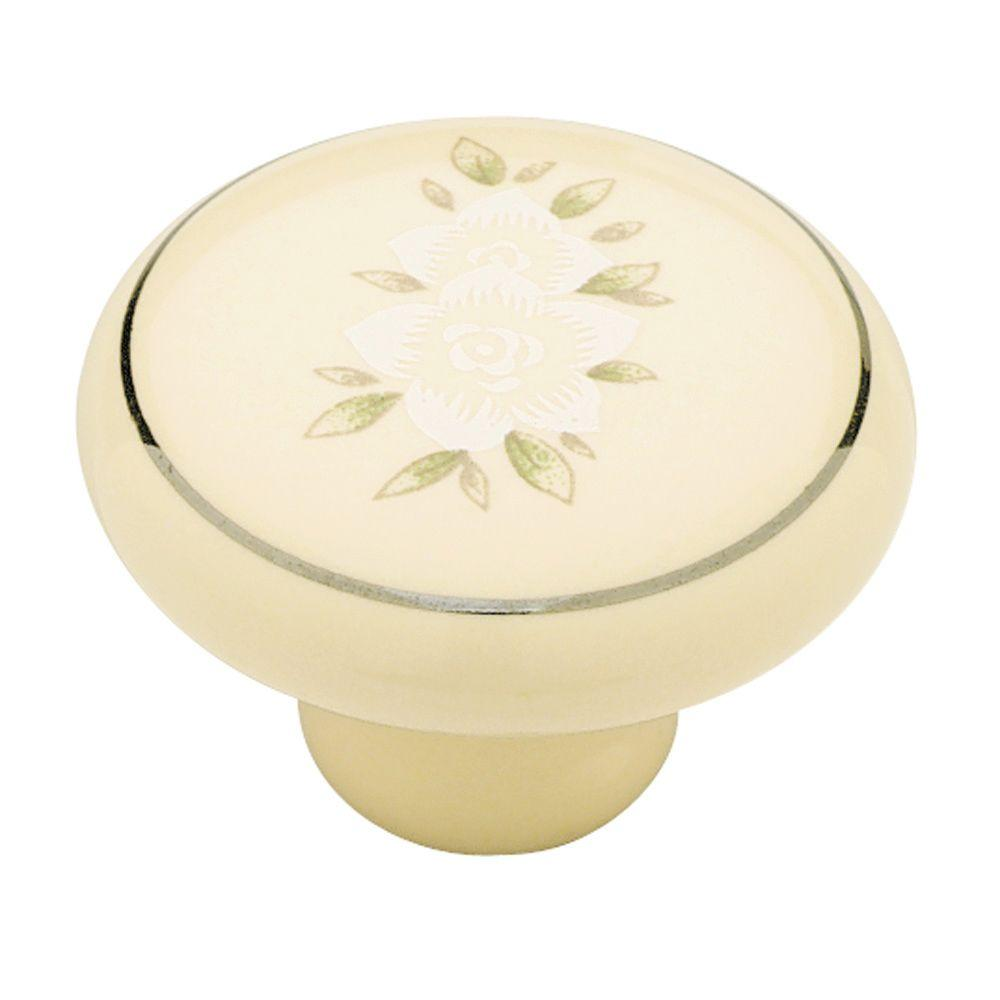 Liberty 1-1/4 in. Ivory Floral Ceramic Cabinet Knob