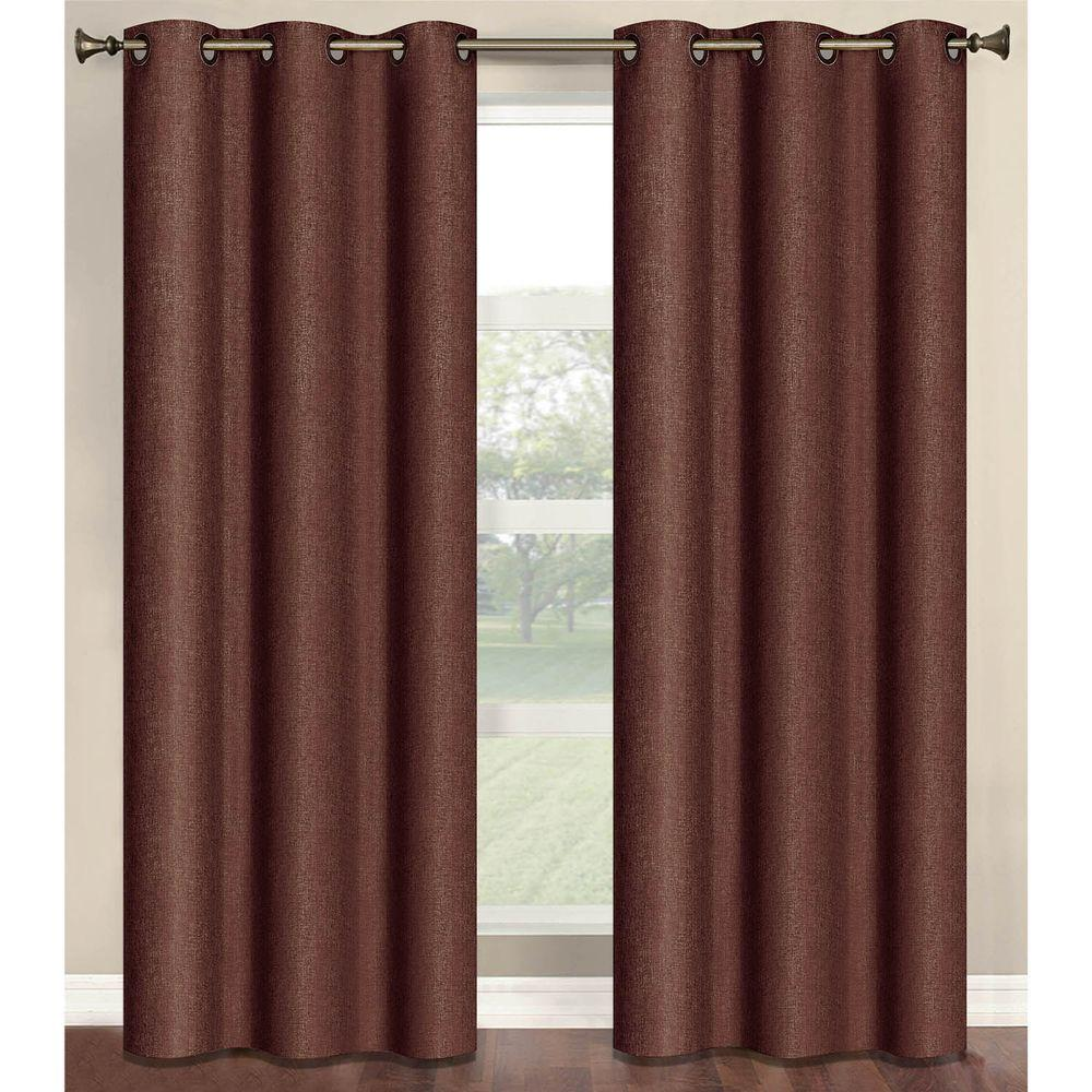 Bella Luna Semi-Opaque Marina Faux Linen 84 in. L Room Darkening Grommet Curtain Panel Pair, Chocolate (Set of 2)