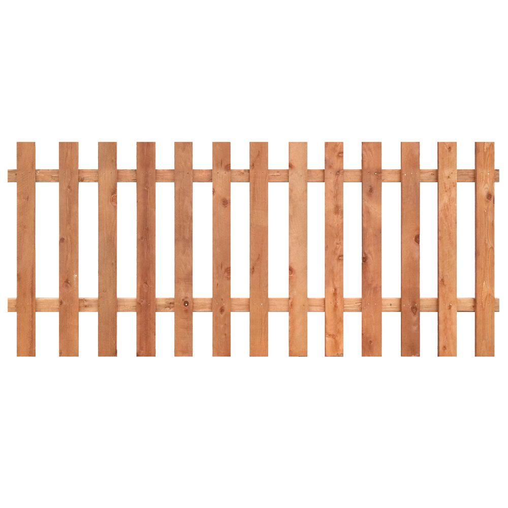 3 1 2 Ft H X 8 Ft W Cedar Spaced Flat Top Fence Panel