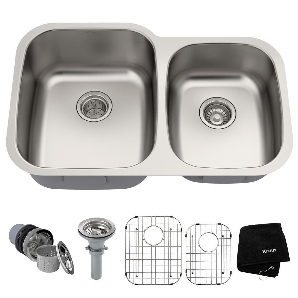 Kraus Premier Undermount Stainless Steel 32 In 60 40 Double Bowl Kitchen Sink