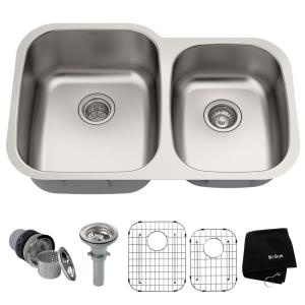 Excellent Kraus Premier Undermount Stainless Steel 32 In 60 40 Double Bowl Kitchen Sink Kbu24 The Home Depot Download Free Architecture Designs Sospemadebymaigaardcom