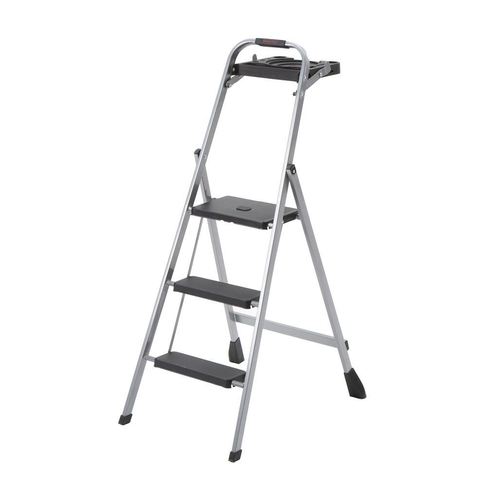 Skinny Mini 3-Step Steel Stool Ladder with Project Tray