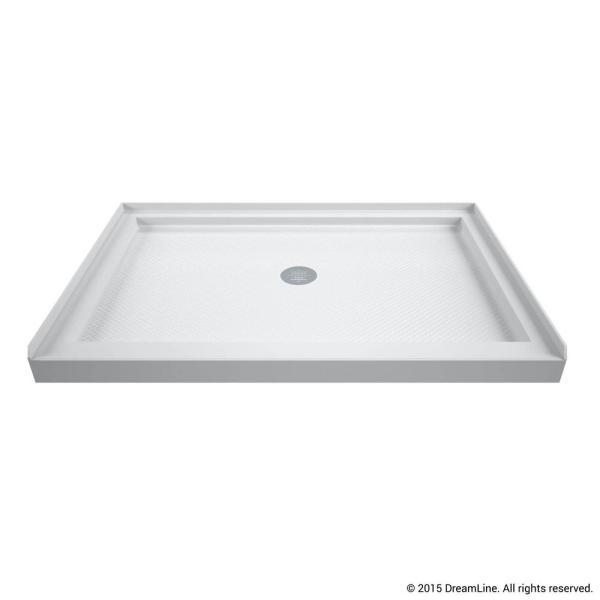 SlimLine 48 in. W x 32 in. D Single Threshold Shower Base in White