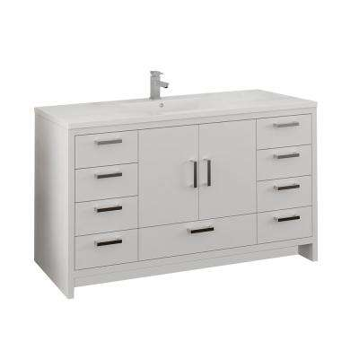 Imperia 60 in. Modern Bathroom Vanity in Glossy White with Vanity Top in White with White Basin