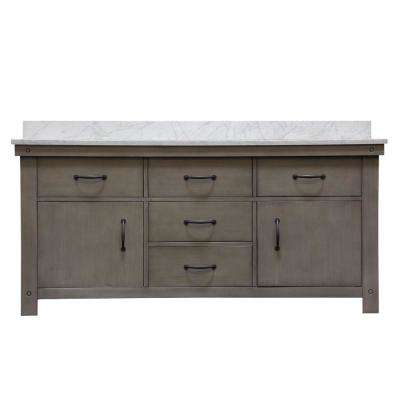 Aberdeen 72 in. W x 34 in. H Vanity in Gray with Marble Vanity Top in Carrara White with White Basins and Faucets
