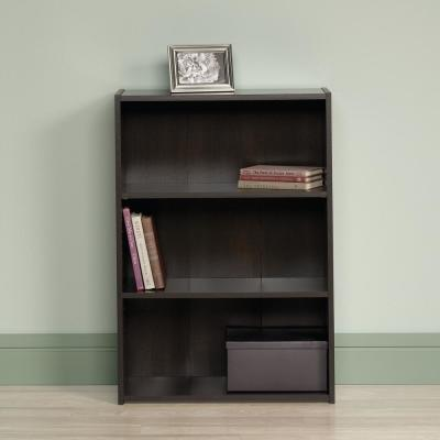 35.25 in. Cinnamon Cherry Faux Wood 3-shelf Standard Bookcase with Adjustable Shelves