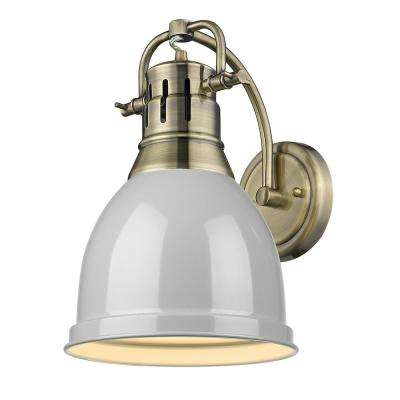 Duncan Collection 1-Light Aged Brass Sconce with Gray Shade