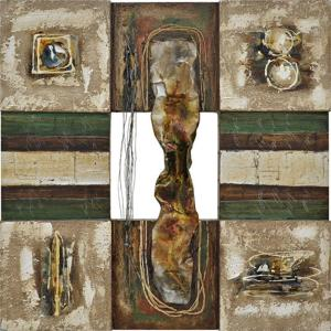 Yosemite Home Decor 35.5 inch x 35.5 inch Lustrious Metal II Hand Painted Contemporary Artwork by Yosemite Home Decor