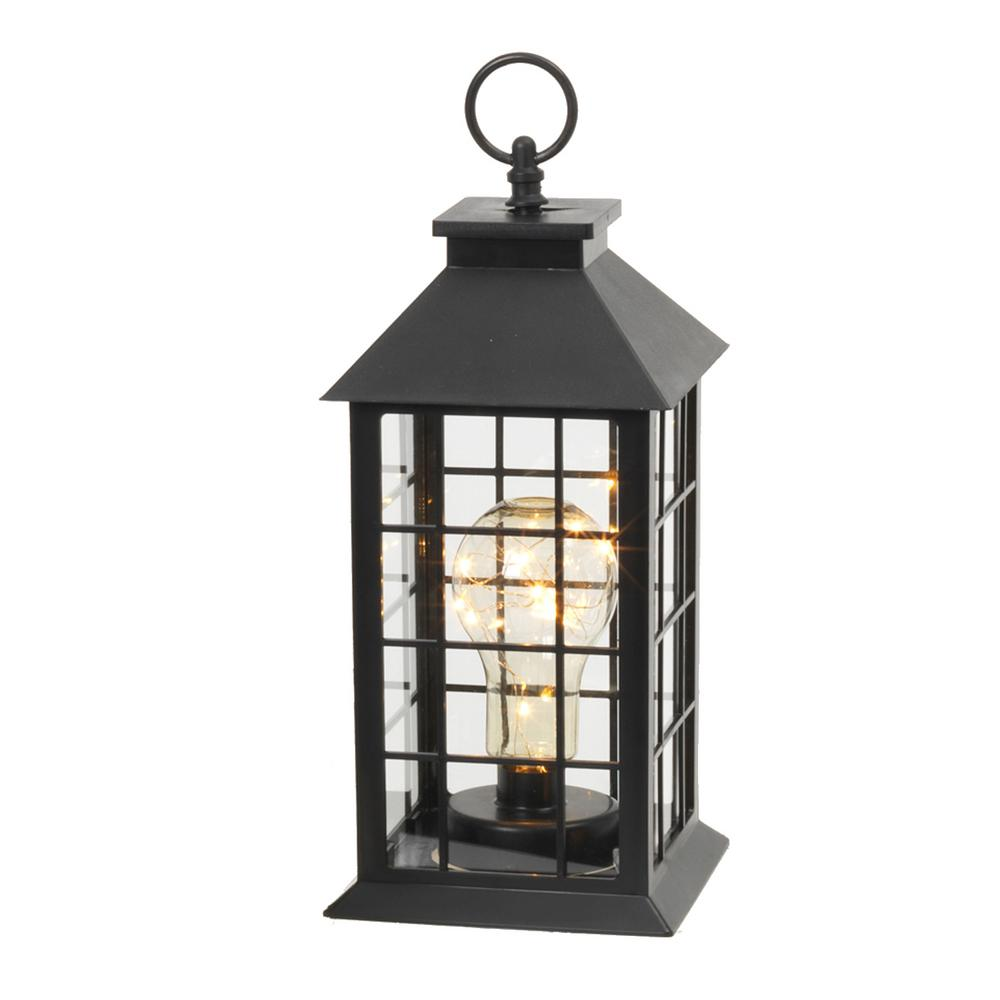Black Battery Operated Plastic Lantern With 10 Micro Led Lights