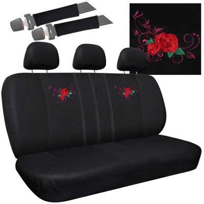 Polyester Seat Covers Set 24 in. L x 1 in. W x 40 in. H 8-Piece Embroidered Red Rose Bench Seat Cover