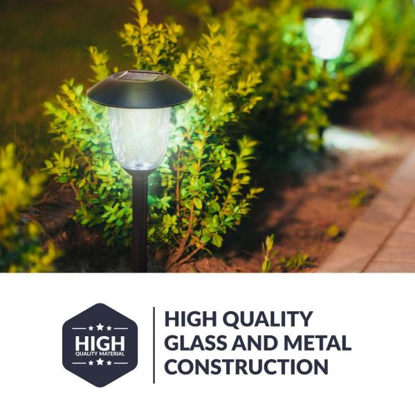 Solar Black Outdoor Integrated Led Filament Style Landscape Path Light 4 Pack Solarpathf2 2 The Home Depot