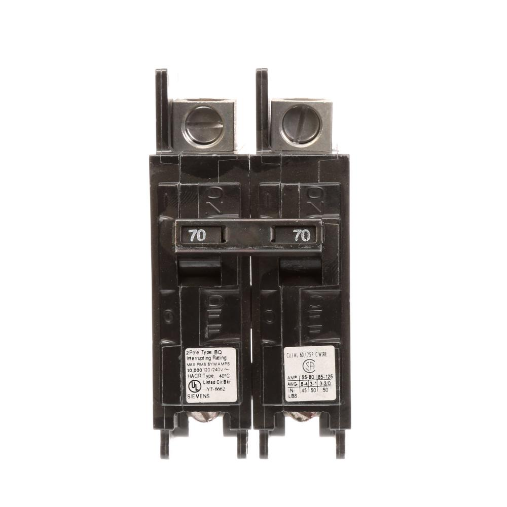 Siemens 70 Amp Double Pole Type Qp Circuit Breaker Q270 The Home Depot 80 Fuse Box 2 Bq 10 Ka Lug In Out