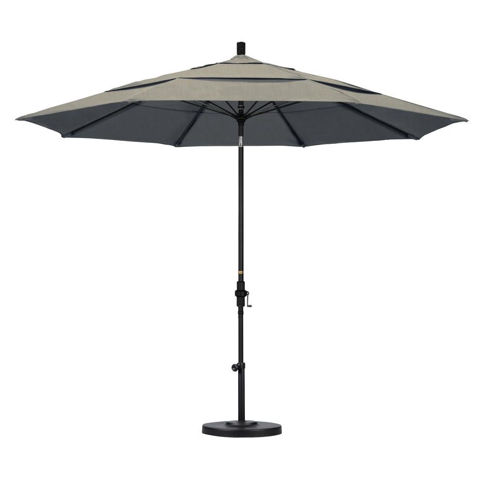 11 ft. Matted Black Aluminum Market Patio Umbrella with Collar Tilt Crank Lift  in Spectrum Dove Sunbrella
