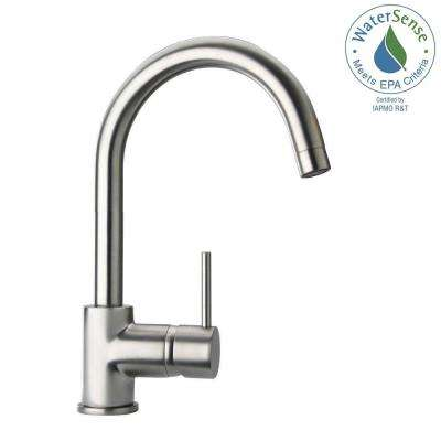 Elba Single Hole 1-Handle Low-Arc Bathroom Faucet in Brushed Nickel