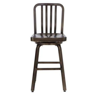 Sandra 24 in. Gun Metal Swivel Bar Stool
