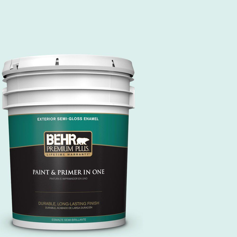 BEHR Premium Plus 5-gal. #490C-1 Ice Cube Semi-Gloss Enamel Exterior Paint