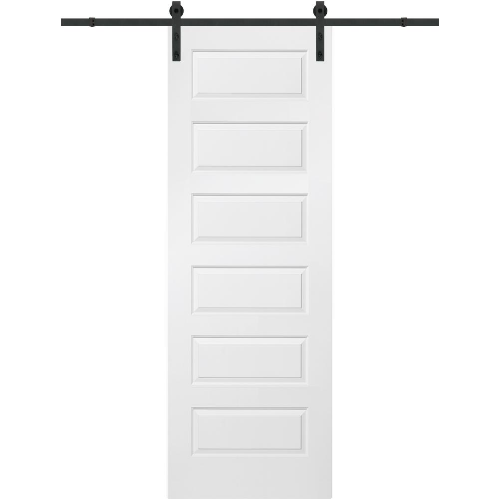 MMI Door 36 in. x 96 in. Rockport Molded Solid Core Primed MDF Smooth Surface Single Sliding Barn Door with Hardware Kit