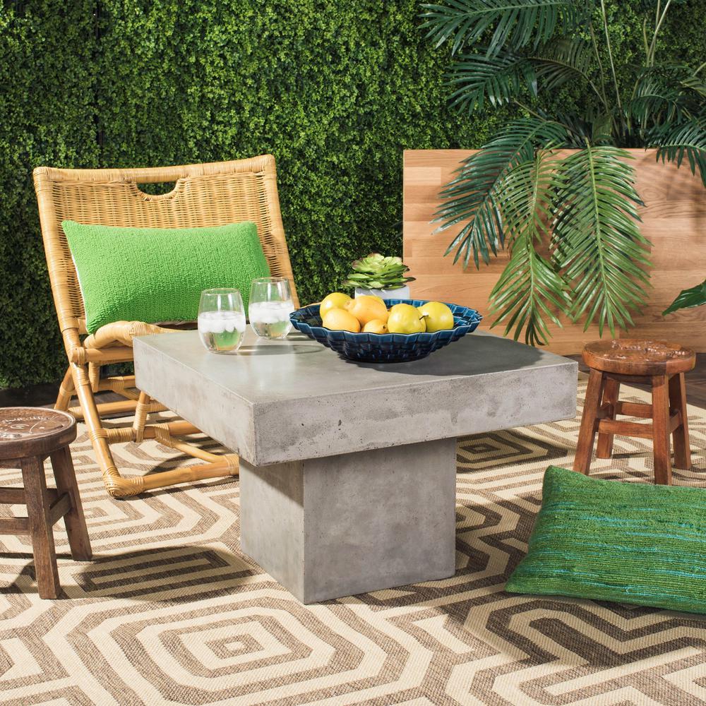 Tallen dark gray stone indoor outdoor coffee table