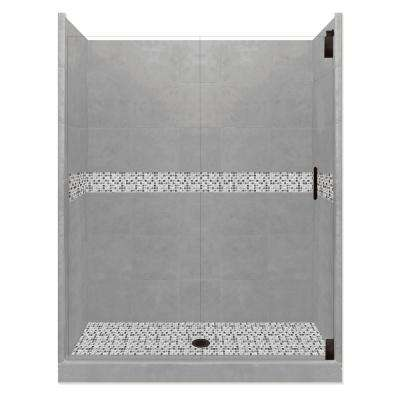 Del Mar Grand Hinged 42 in. x 60 in. x 80 in. Center Drain Alcove Shower Kit in Wet Cement and Black Pipe Hardware