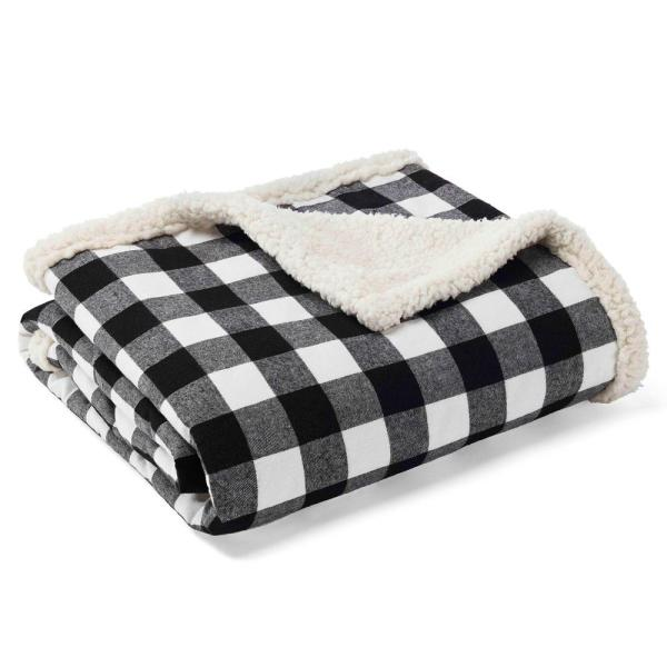 c68713877 Eddie Bauer 50 in. x 60 in. Cabin Black Sherpa Throw 224034 - The ...