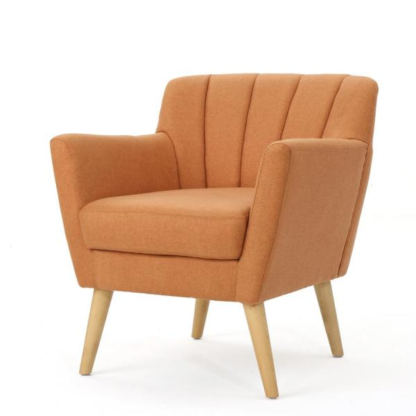Merel Mid-Century Modern Orange Fabric Club Chair