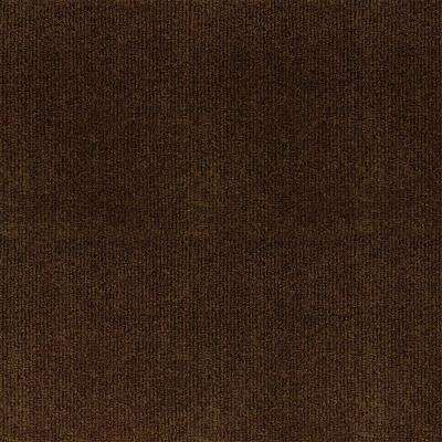 Ribbed Brown Texture 18 in. x 18 in. Carpet Tile (16 Tiles/Case)