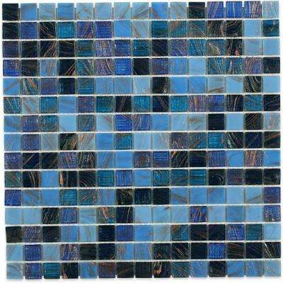 Bahama Blue 13 in. x 13 in. x 4 mm Glass Mosaic Floor and Wall Tile