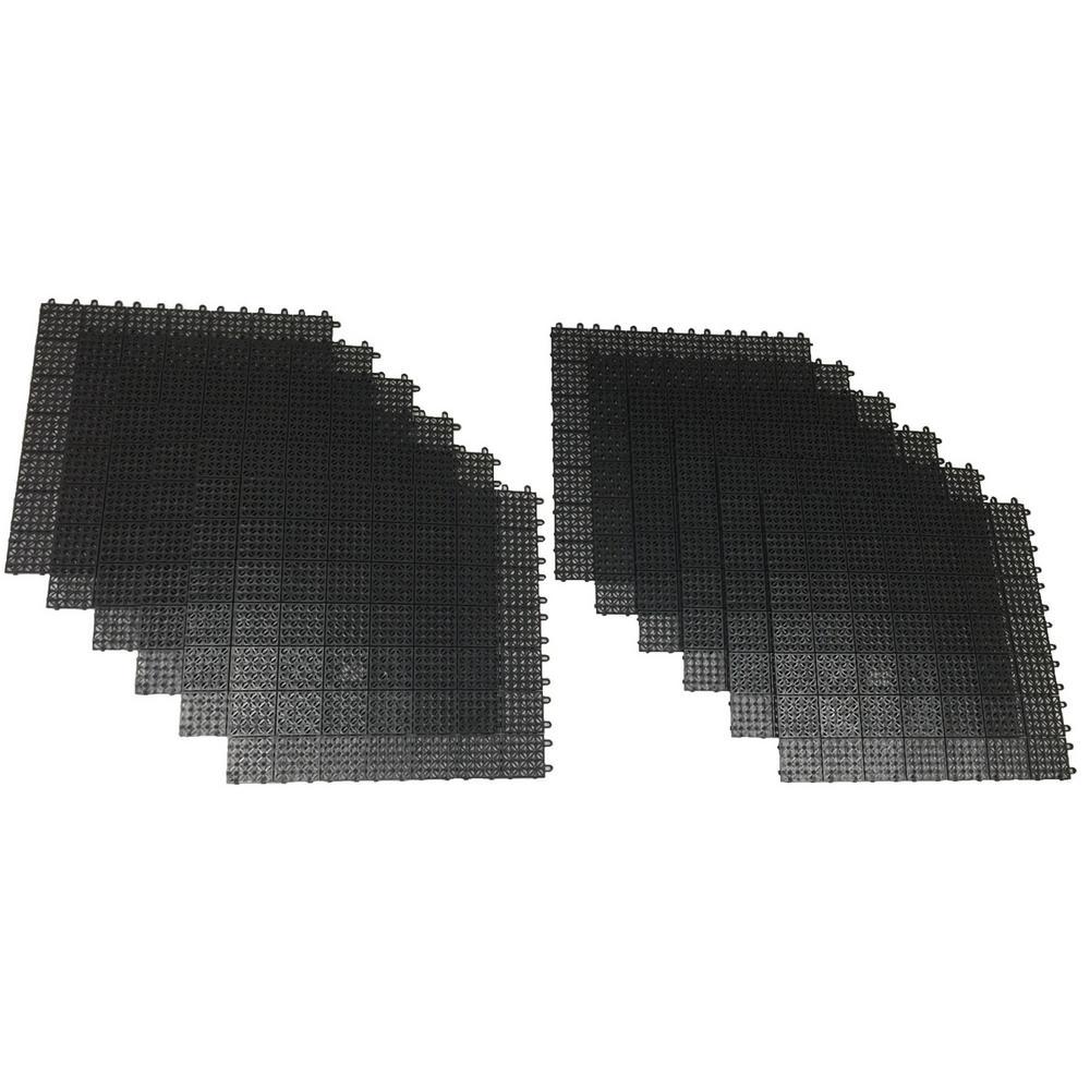 Black Regenerated 22 in. x 22 in. Polypropylene Interlocking Floor Mat System (Set of 12 Tiles)