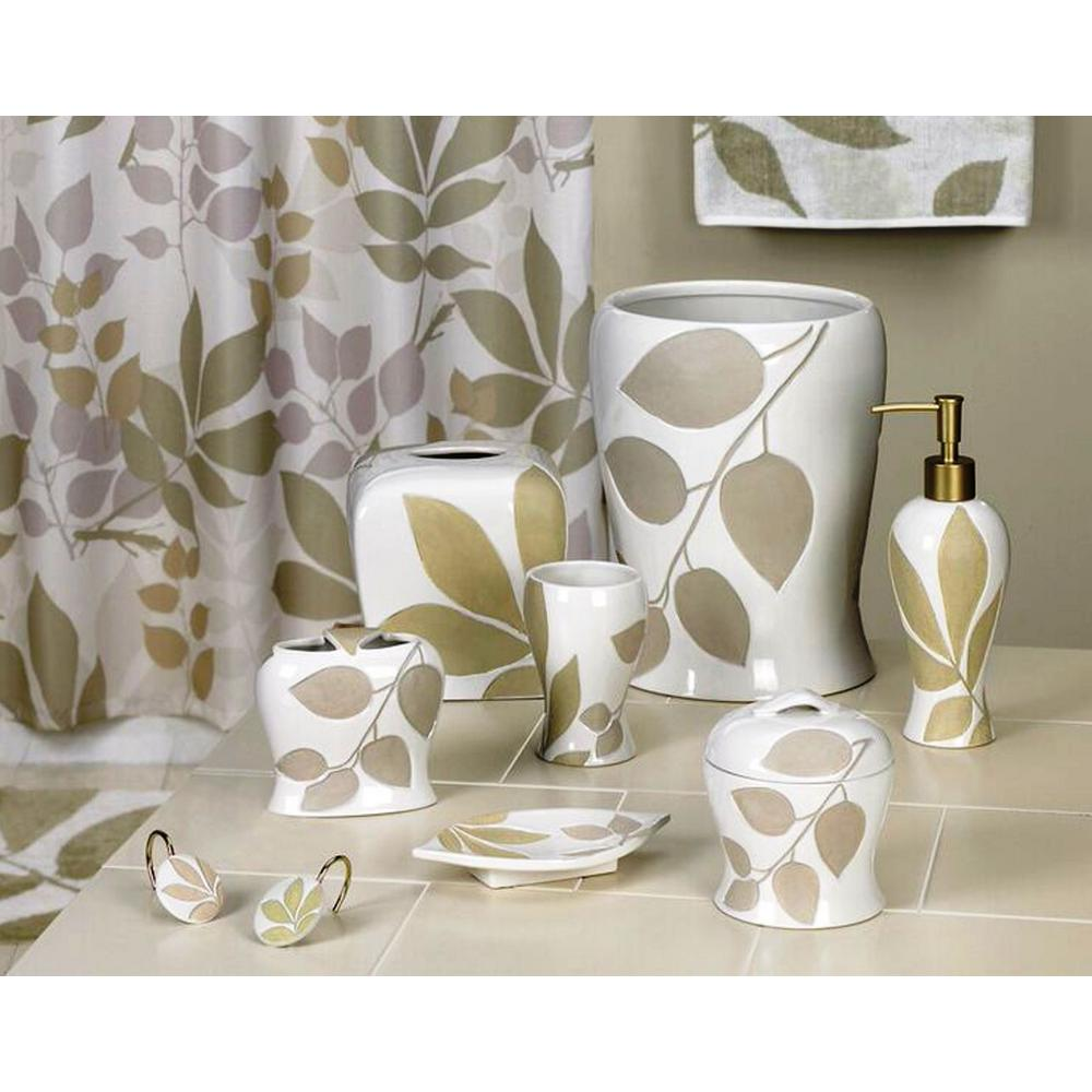 Shadow Leaves 7-Piece Ceramic Bath Accessory Set in White/Green ...