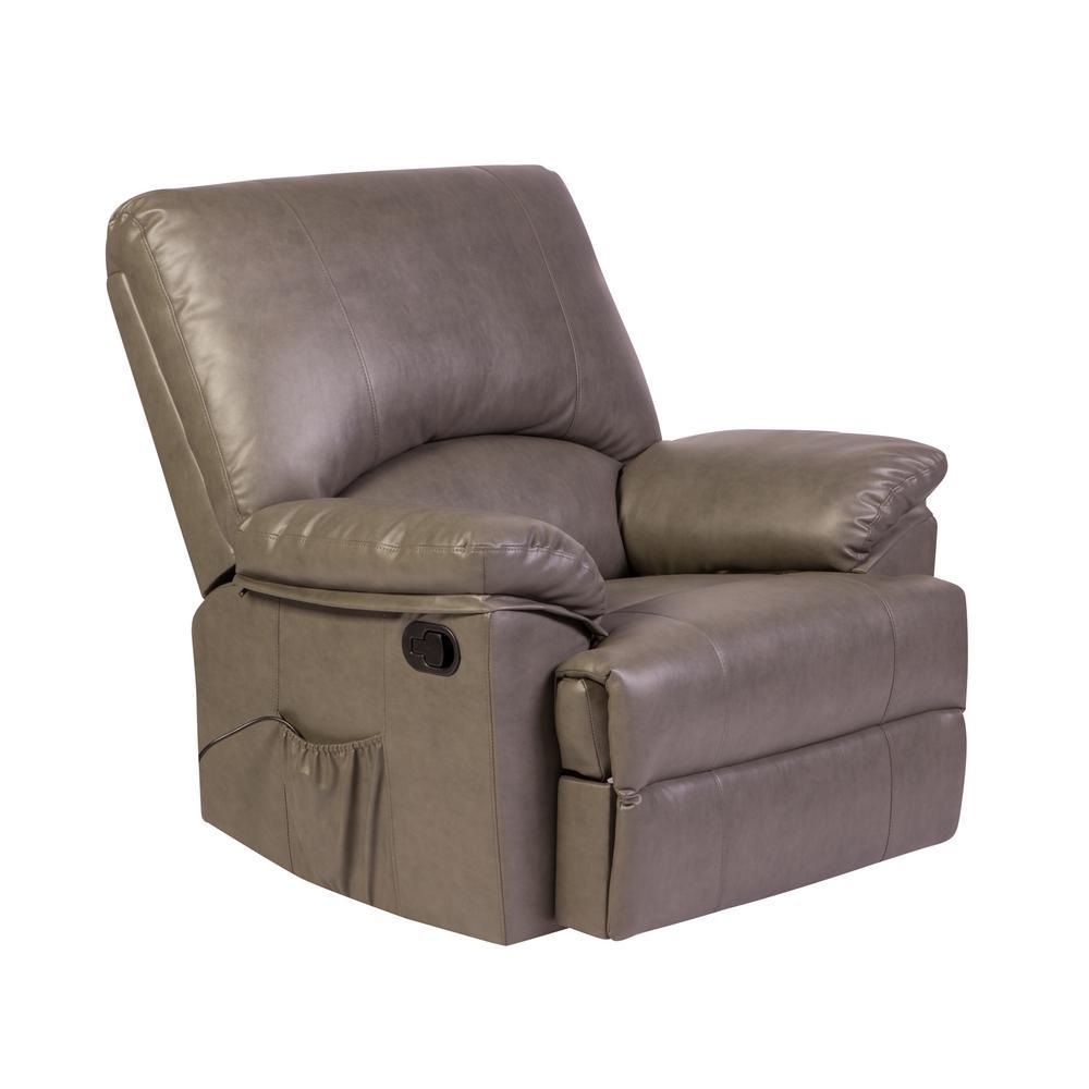Reynolds Grey Bonded Leather Massage Rocker Recliner