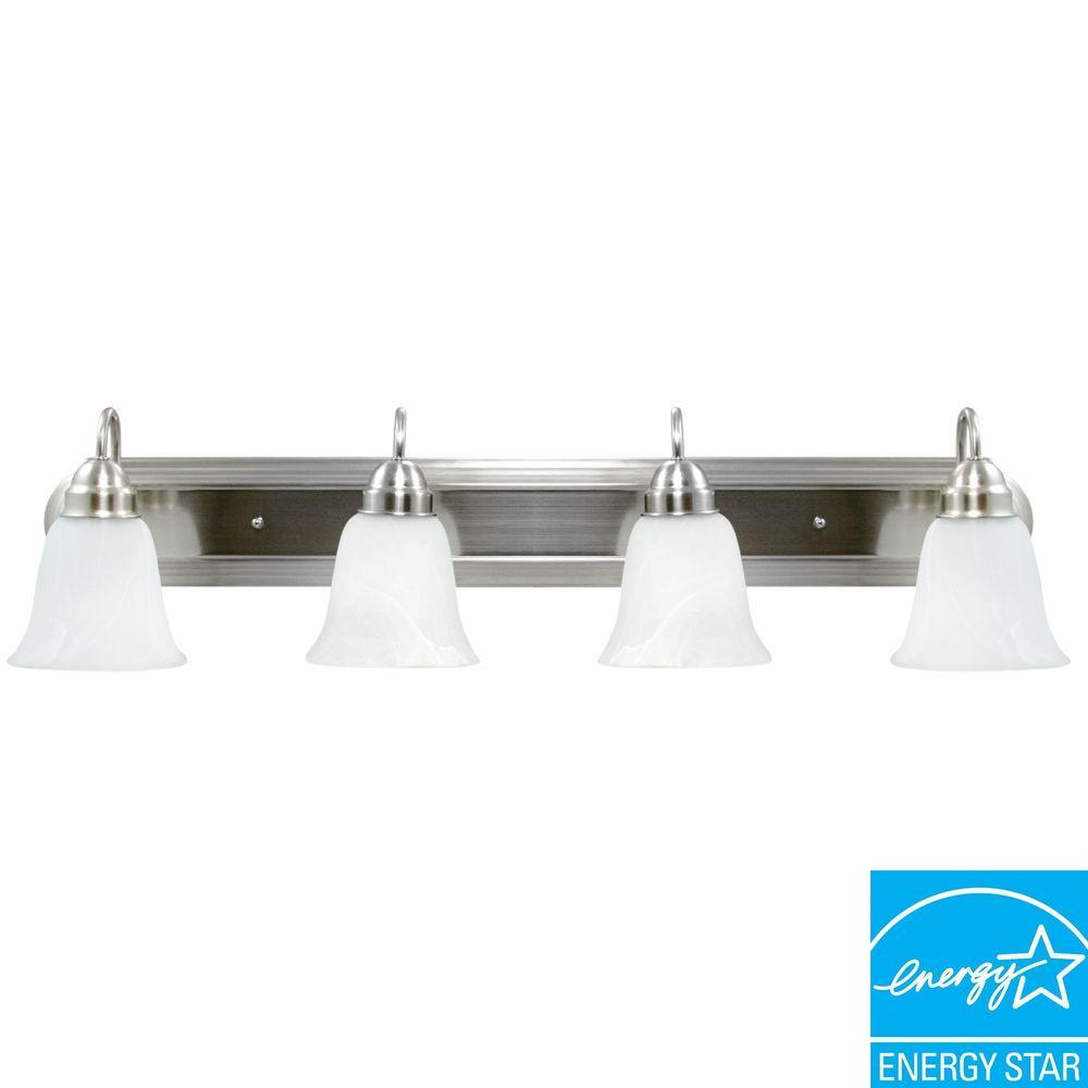 Efficient Lighting Contemporary 4-Light Brushed Nickel Finish Vanity with Bulbs-DISCONTINUED