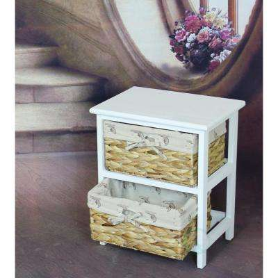 2-Drawer Antique White Nightstand