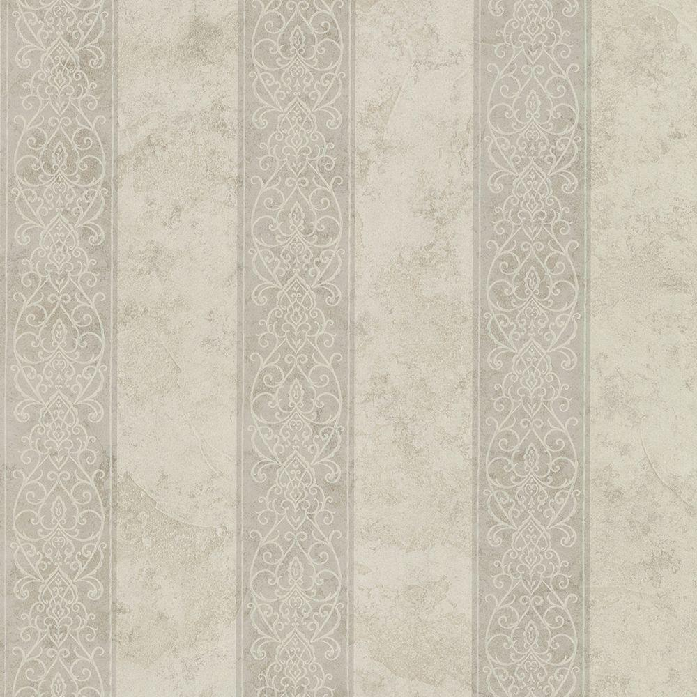 Presque Isle Taupe Regal Stripe Wallpaper Sample