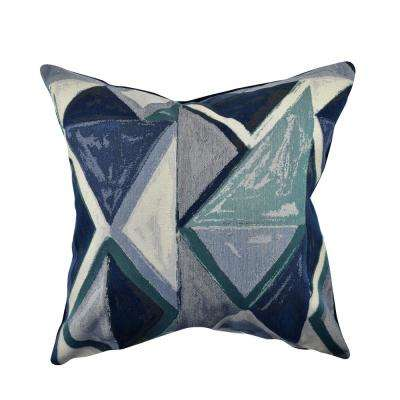 Angular Blue and White Jacquard Throw Pillow