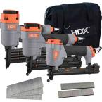 Pneumatic Finish and Trim Nailer and Staplers Combo Kit with Canvas Bag and Fasteners (3-Piece)