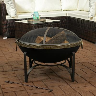 26-In Contemporary Steel Fire Bowl with Handles and Spark Screen