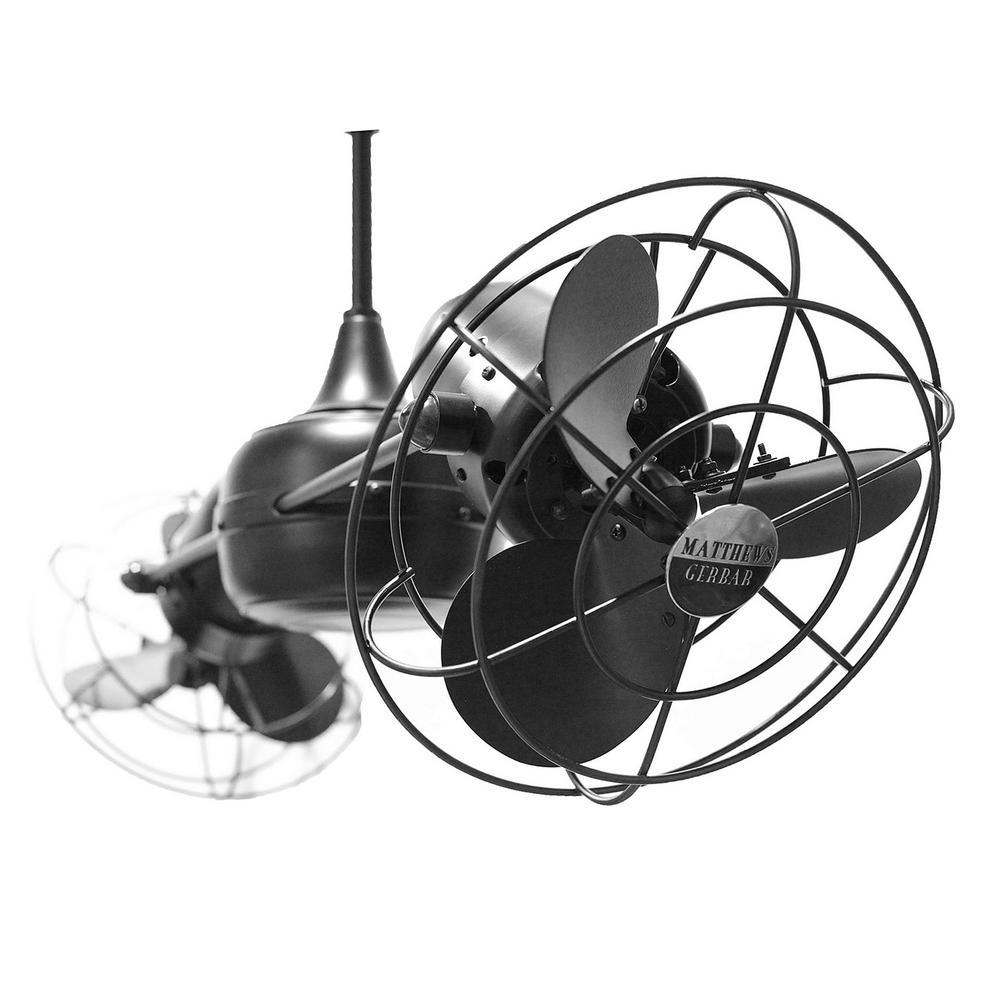Matthews Gerbar Duplo-Dinamico 39 in. Indoor/Outdoor Matte Black Ceiling Fan with Wall Control