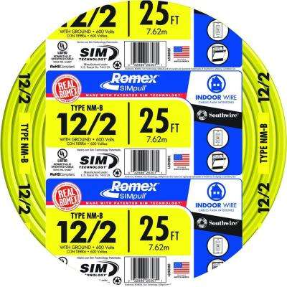 25 ft. 12/2 Solid Romex SIMpull CU NM-B W/G Wire