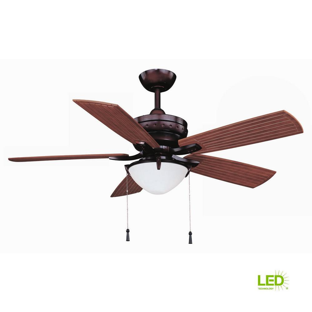 Hampton Bay Four Winds 54 in. LED Indoor/Outdoor Weathered Bronze Ceiling Fan with Light Kit