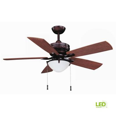 Four Winds 54 in. LED Indoor/Outdoor Weathered Bronze Ceiling Fan with Light Kit