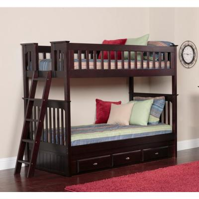Espresso Twin over Twin Solid Pine Bunkbed with 3-Drawer Underbed Storage