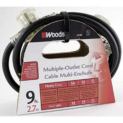 9 ft. 14/3 STW Tri-Source (Multi-Outlet) Outdoor Medium-Duty Power Block Extension Cord
