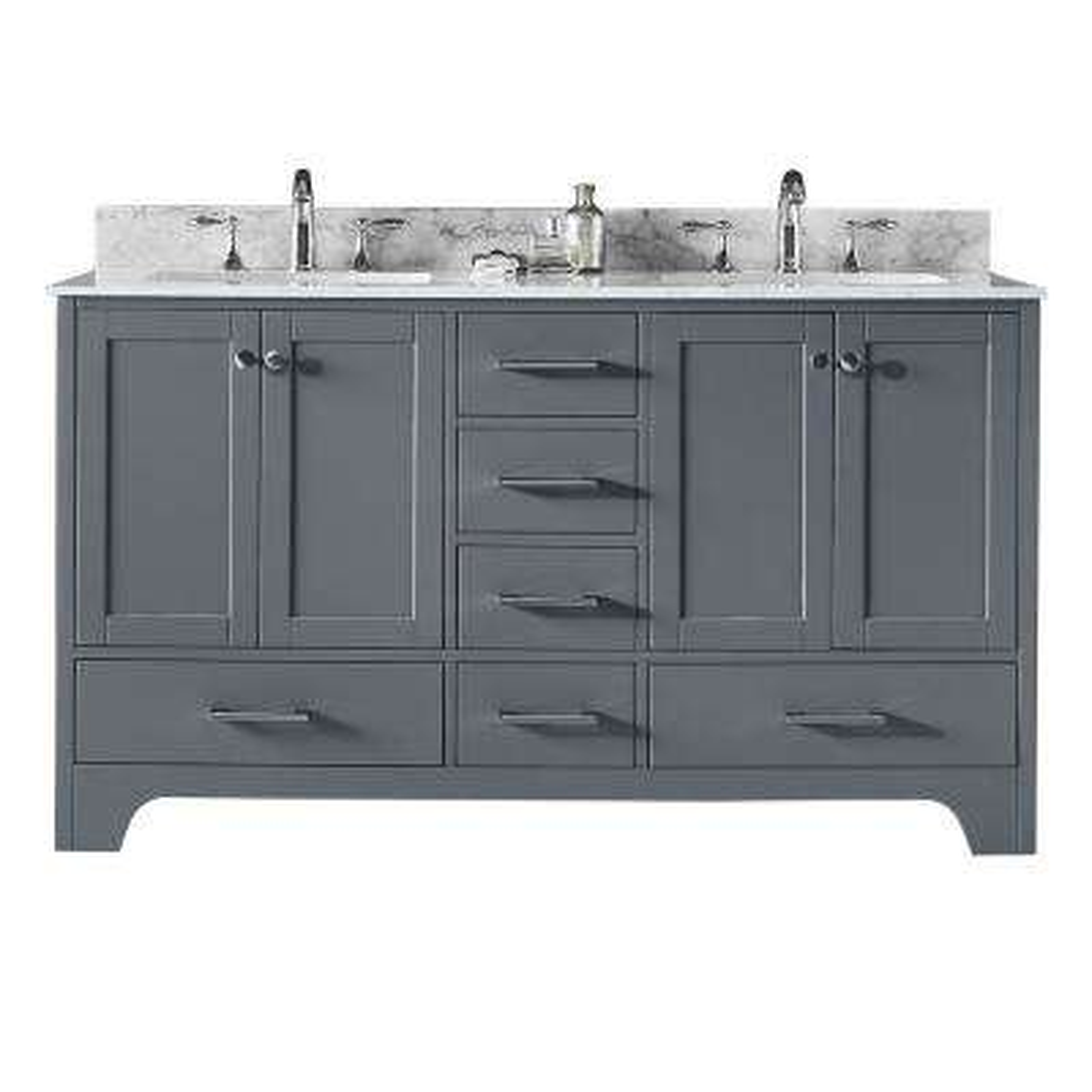 Clariette 60 in. W x 22 in. D x 34.21 in. H Bath Vanity in Cashmere Grey w/ Marble Vanity Top in White w/ White Basins