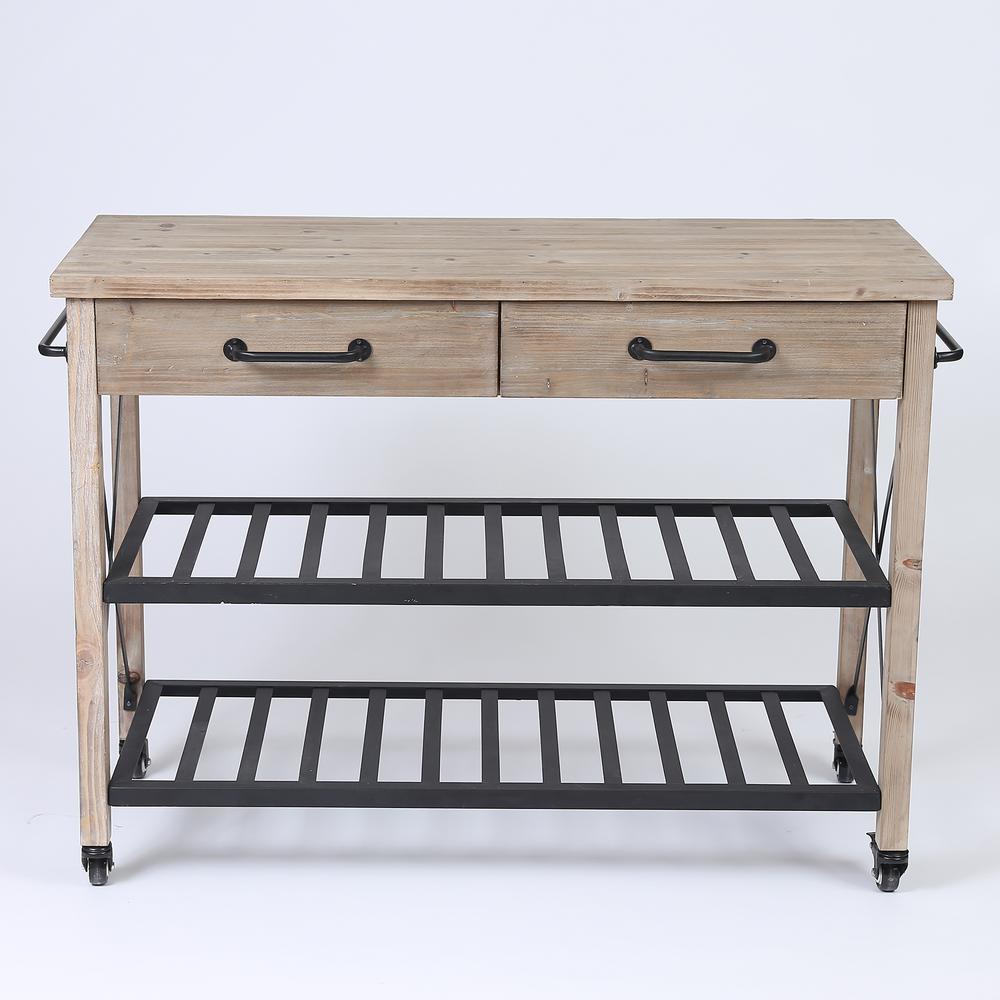 Natural 2-Drawer Kitchen Cart