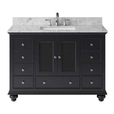 Aerin 47.32 in. W x 21.65 in. D x 33.86 in. H Bath Vanity in Espresso with Marble Vanity Top in White with White Basin